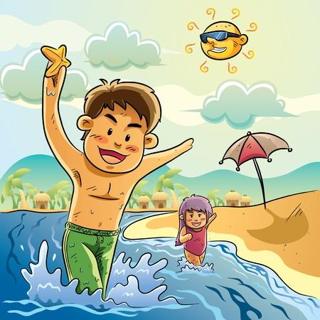 dessin enfants: Enfants jouent sur la plage