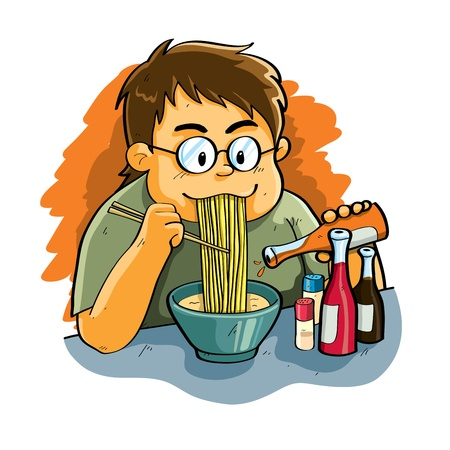 chili sauce: Man Eating Noodle