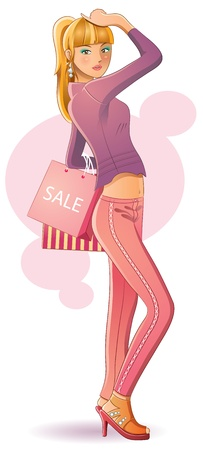 Sexy Girl Shopping Vector