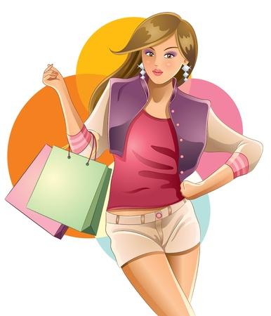 Sexy Girl Shopping Illustration