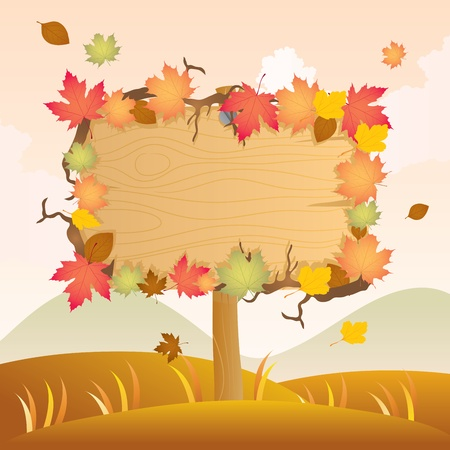 Autumn Wood Signage Illustration