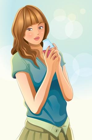 Cute Girl drinken sap