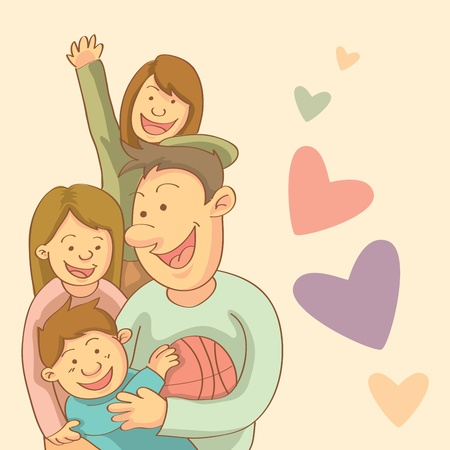 sibling: Happy Family Illustration