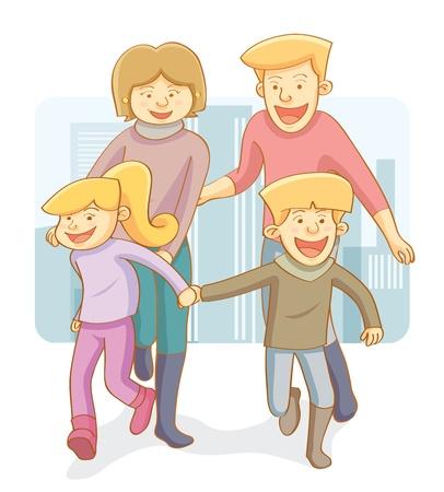 family clipart: Happy Family Vettoriali