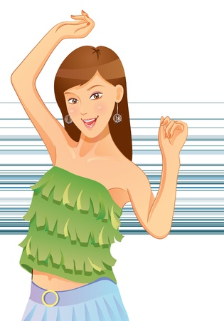 Pretty Girl Dancing Stock Vector - 11068298