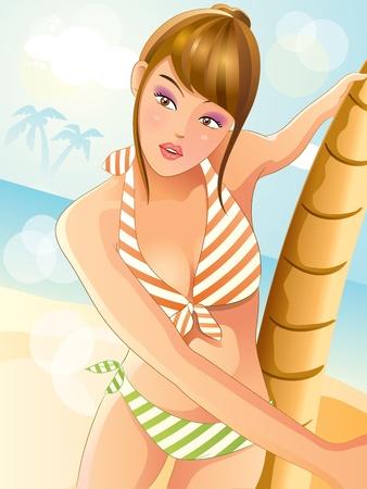 Summer Sexy Bikini Girl Vector
