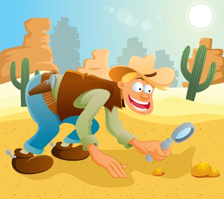 Cowboy Finding Some Gold Stock Vector - 11108347