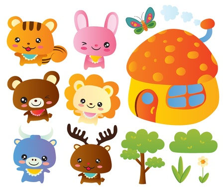 butterfly rabbit: Cute Animal Collection Set
