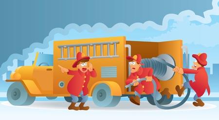 hand truck: Fireman in Action