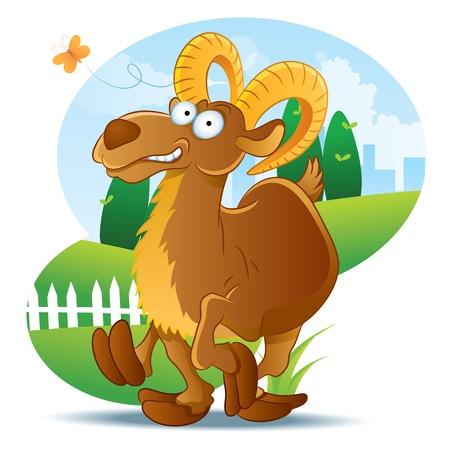 cabra: Ilustración de dibujos animados de cabra