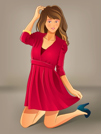 Pretty Girl in Red Dress Vector