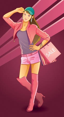 Pretty Girl Love Shopping Vector