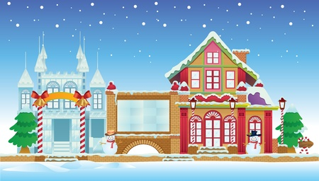 Santa House and Ice Castle Vector