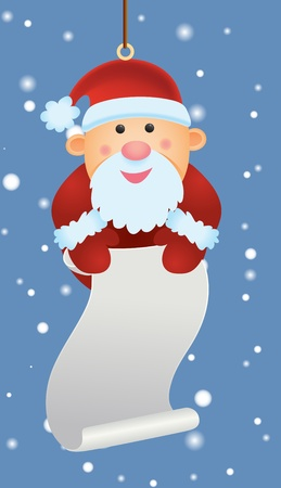 snow chain: Santa Ornament Holding Wish List Illustration
