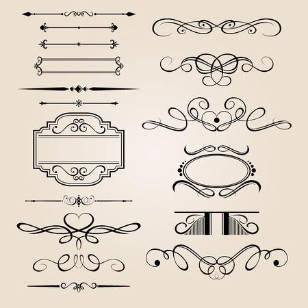 Vector Set Frontera Elemento de diseño Ilustración de vector