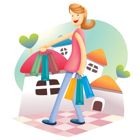 Cute Shopping Girl Vector