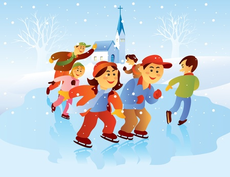 Kids Playing Ice Skating at Christmas Holiday Vector