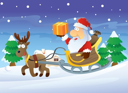 Santa and Reindeer at Christmas Illustration