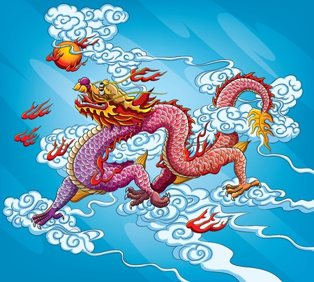 Chinese Dragon Painting (EPS 10 file version) Vector