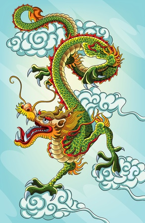 folktale: Pintura china del drag�n (EPS 10 versi�n del archivo)