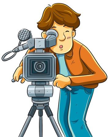 Cameraman Shoot The Cinema met Movie Camera Vector Illustratie