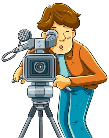 Cameraman Shoot The Cinema with Movie Camera Vector