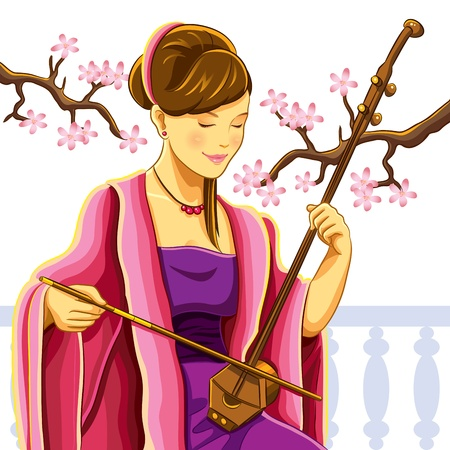 Beautiful Chinese Erhu Player Vector