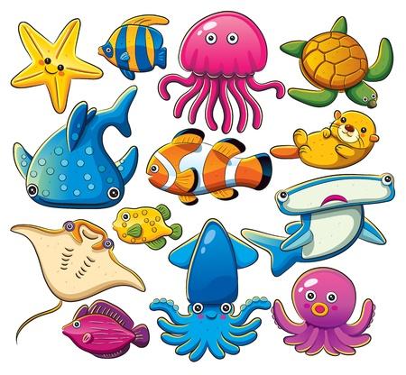 calamar: Mar Animales Colección
