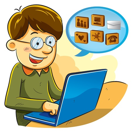 Social Network Boy Stock Vector - 11784623