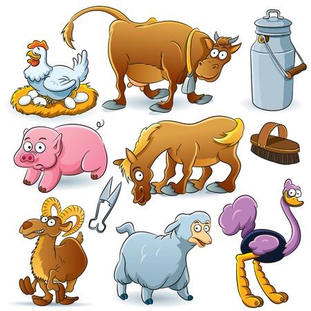 avestruz: Animales de Granja Colecci�n Vectores