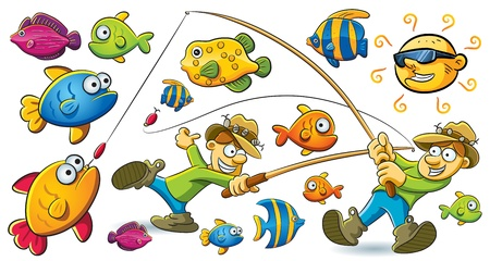 cartoon fishing: Fishing Man Illustration