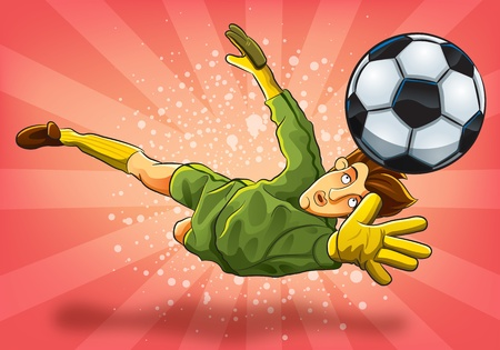 portero: Saltar portero atrapar una pelota Vectores