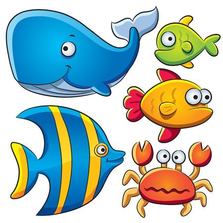 peces caricatura: Colección de Peces del Mar
