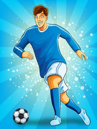 futbol soccer dibujos: Jugador de fútbol patear una pelota