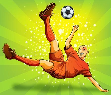 Jugador de fútbol del vuelo disparar a una bola Ilustración de vector