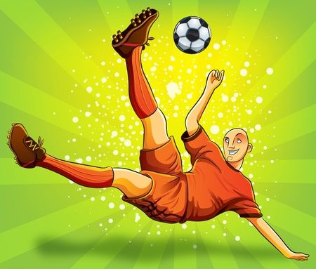 Soccer Player Flying Shooting a Ball  Illustration