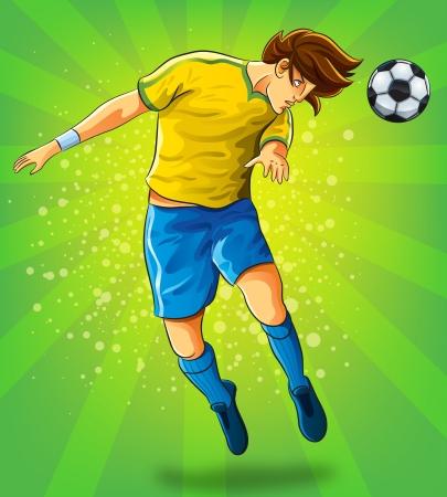 pelota caricatura: Jugador de fútbol Jefe disparar a una bola