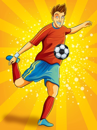 futbol soccer dibujos: Jugador de fútbol disparar a una bola