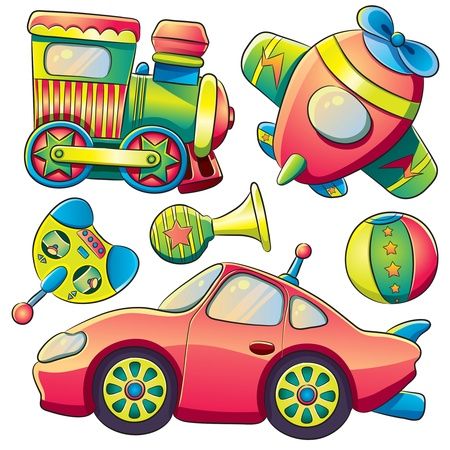 train cartoon: Transportation Toys Collection Illustration