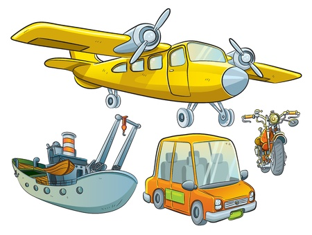 boat motor: Vehicle Collection Illustration