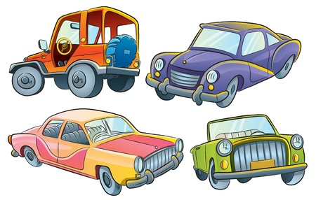 luxury cars: Cars Collection Illustration