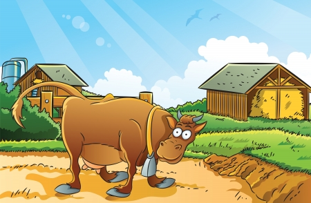 cartoon summer: Farm Background Illustration