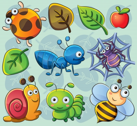 spider cartoon: Cute Bugs Illustration