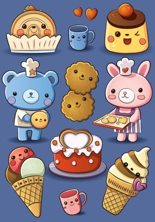 schattige dieren cartoon: Leuke Cakes en Ice Cream Stock Illustratie