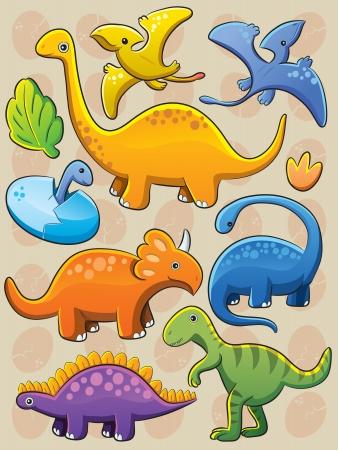 Los dinosaurios Colección Ilustración de vector