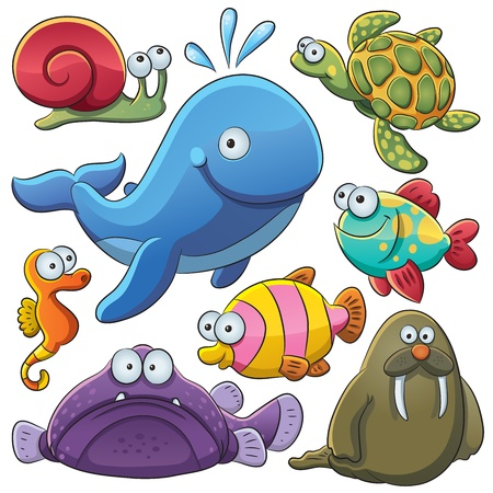 schwimmtier: Sea Animals Kollektion Illustration