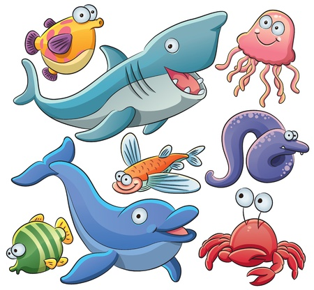 cangrejo caricatura: Animales del Mar Colección