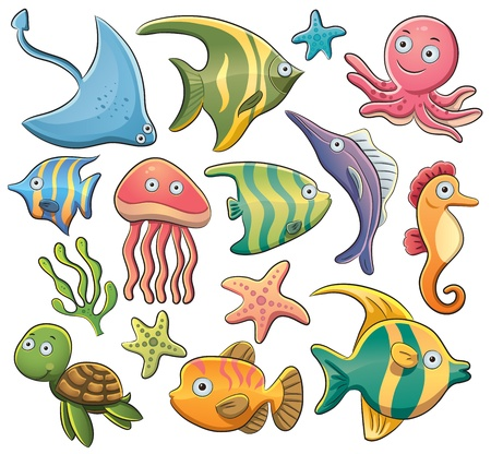 Sea Animals Collection Stock Vector - 14101604