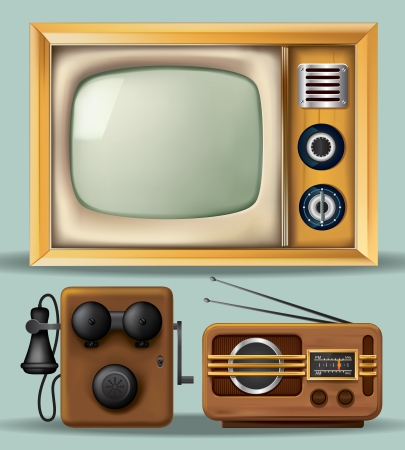 antique telephone: Vintage Electronics Illustration