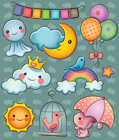 rainbow clouds: Weather Collection Illustration